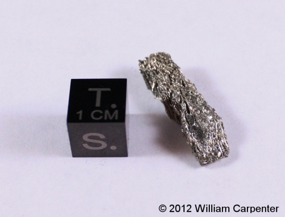 A small sample of scandium metal.