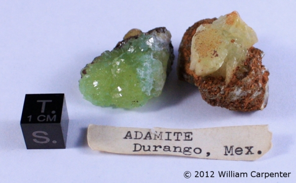 Two crystals of adamite.