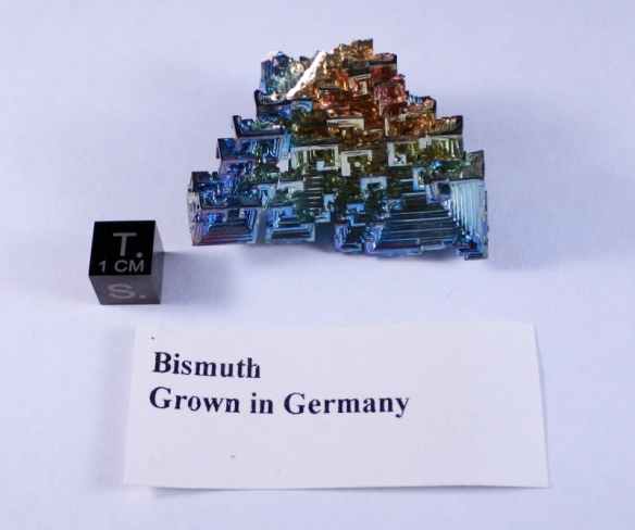 A crystalline sample of bismuth, grown in Germany.